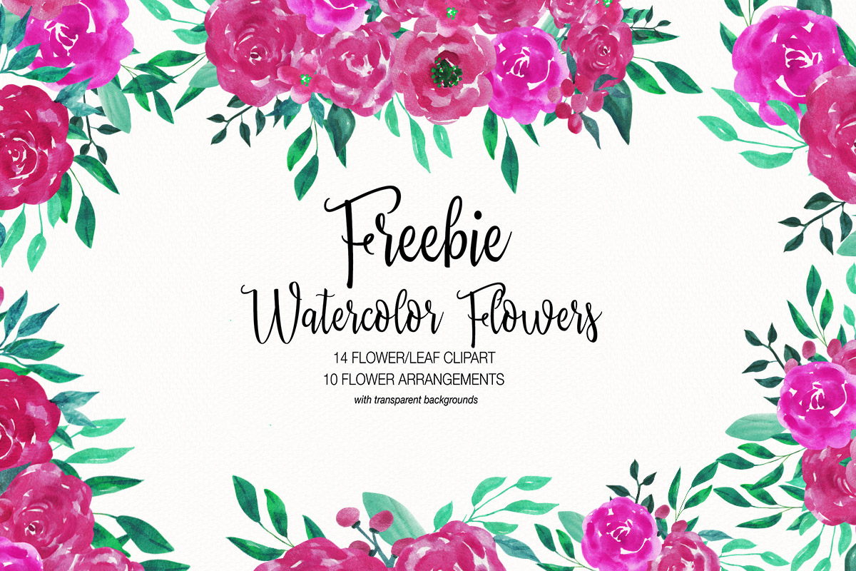 Free Watercolor Flower Clipart Collection.