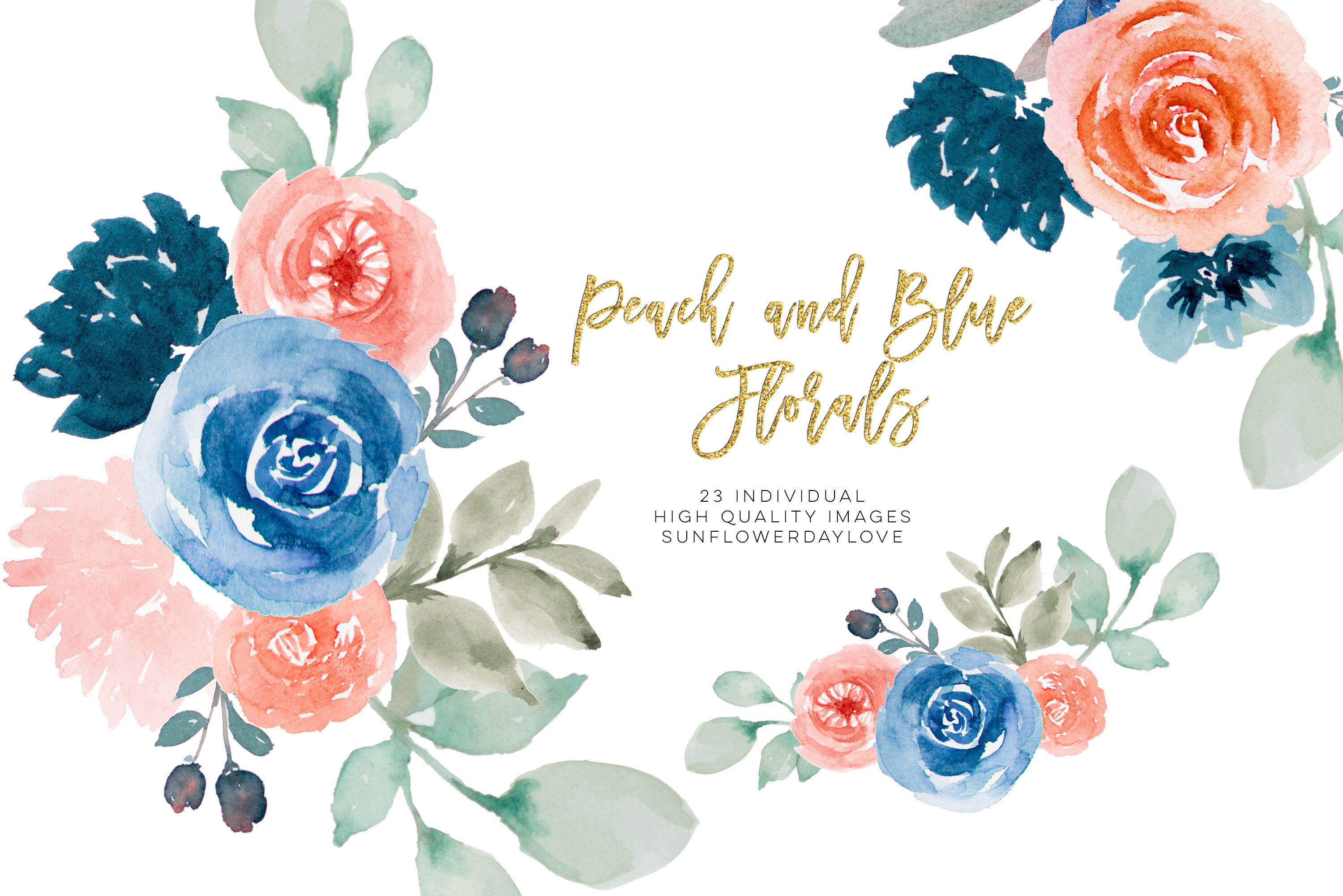 Navy Watercolor floral clip art, peach flower border.