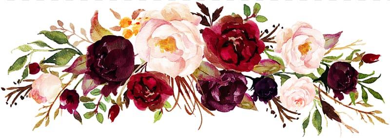 Marsala wine Wedding invitation Flower , watercolor rose.
