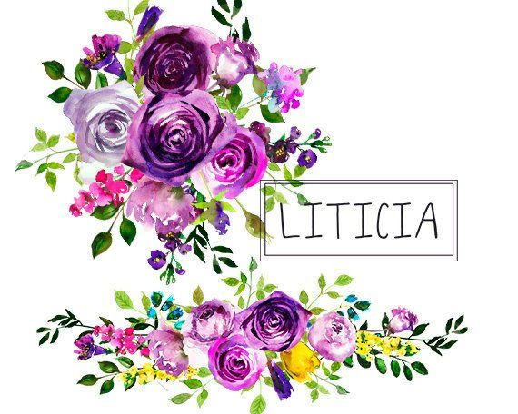 Purple Watercolor Flowers Clipart Floral Bouquets Wreath.