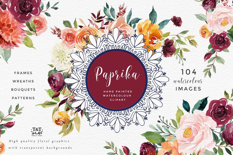 Paprika: Watercolor Flower Clipart.