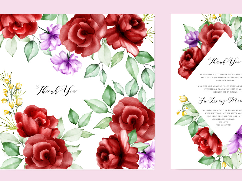 elegant watercolor floral wedding invitation template by.
