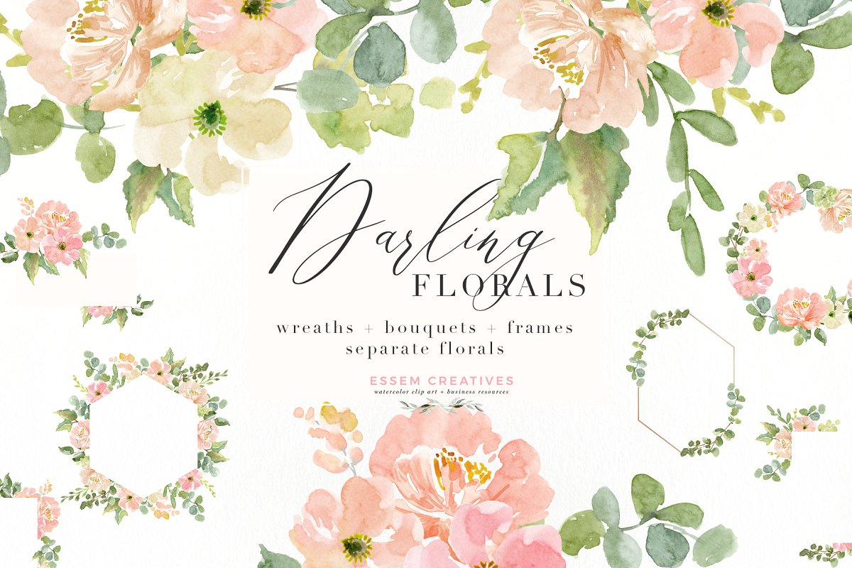 Wedding Invite Watercolor Flower PNG ~ Illustrations.