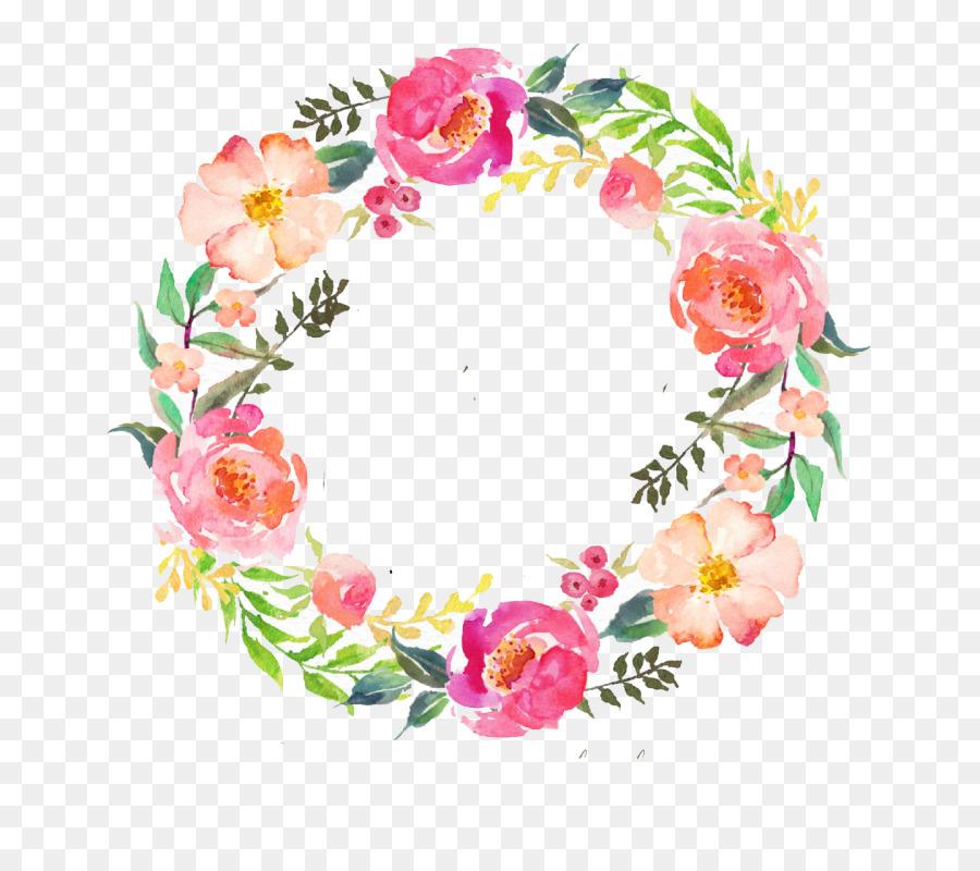 Watercolor Flower Wreath clipart.