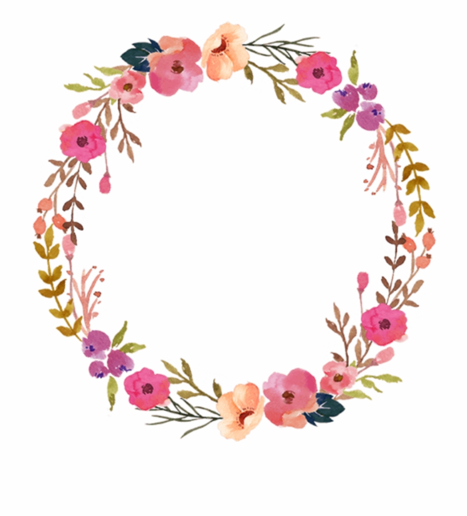 Ftestickers Watercolor Wreath Floral Colorful.