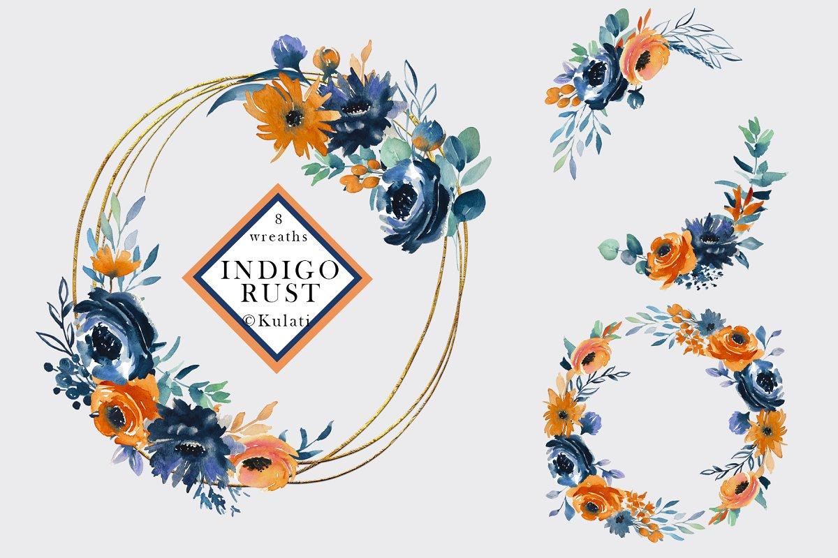 Indigo Rust Watercolor Floral Wreath.