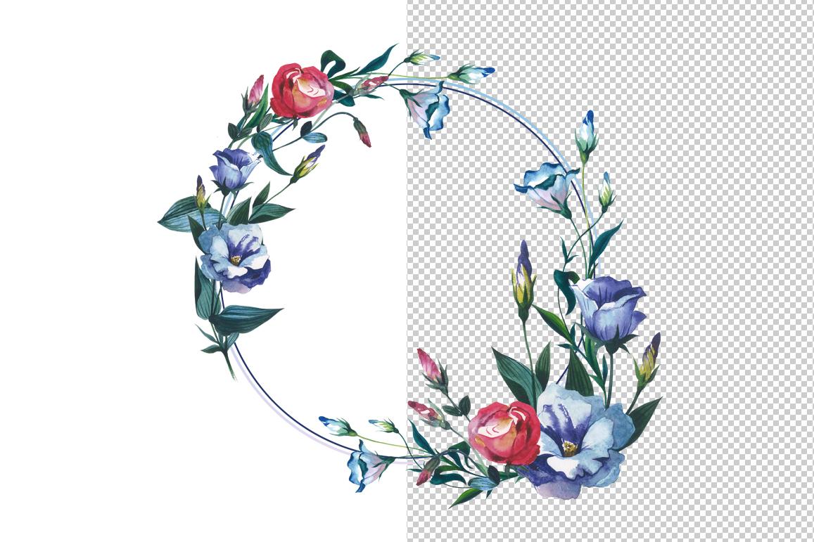 Watercolor Flower Wreath PNG set.