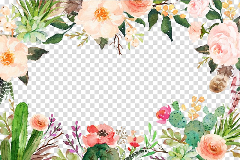 Watercolor flowers smile flowers border transparent.