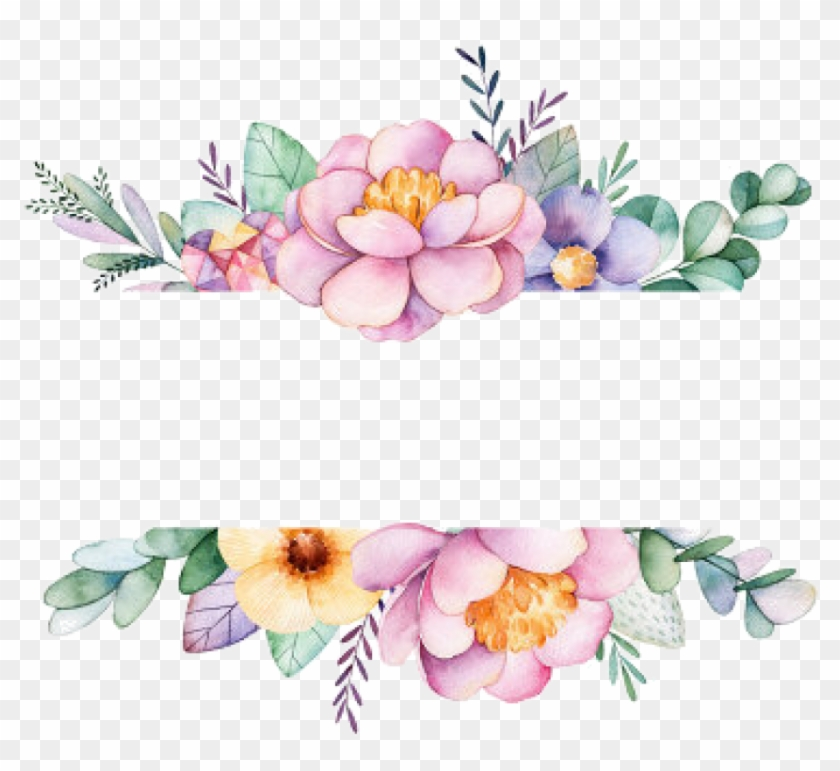 Free Png Download Watercolor Flowers Frame Png Images.