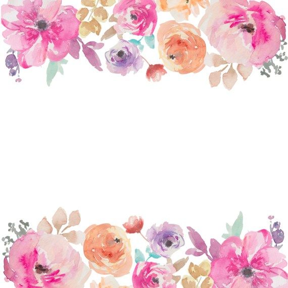 Watercolor Flowers Border Free.