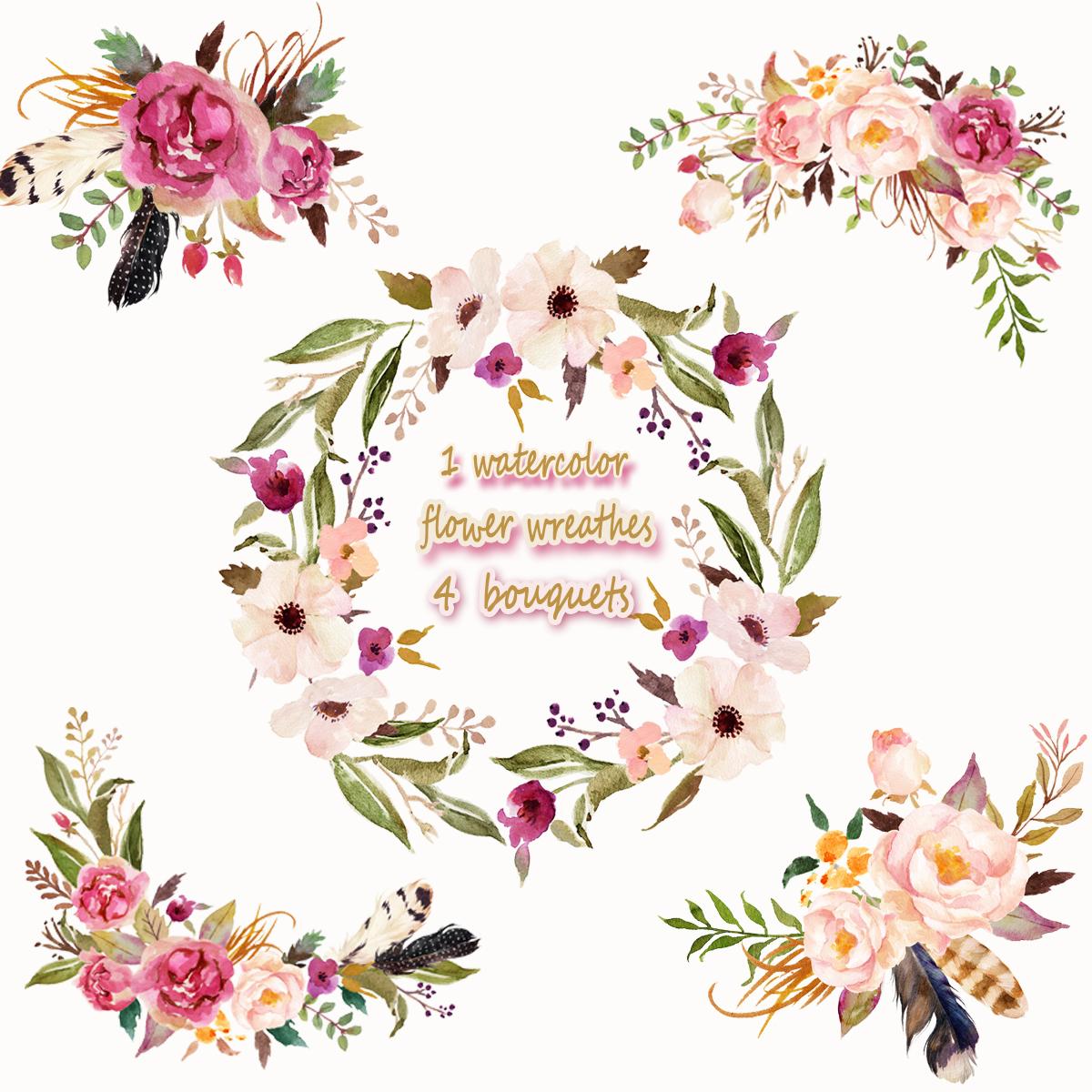 1 Watercolor Flower Wreathes&4 Flower Bouquets,Floral Frame PNG, Wedding  Bouquet, Arrangement, Bouquet, Digital Paper, Green Flowers, Bridal Shower,.