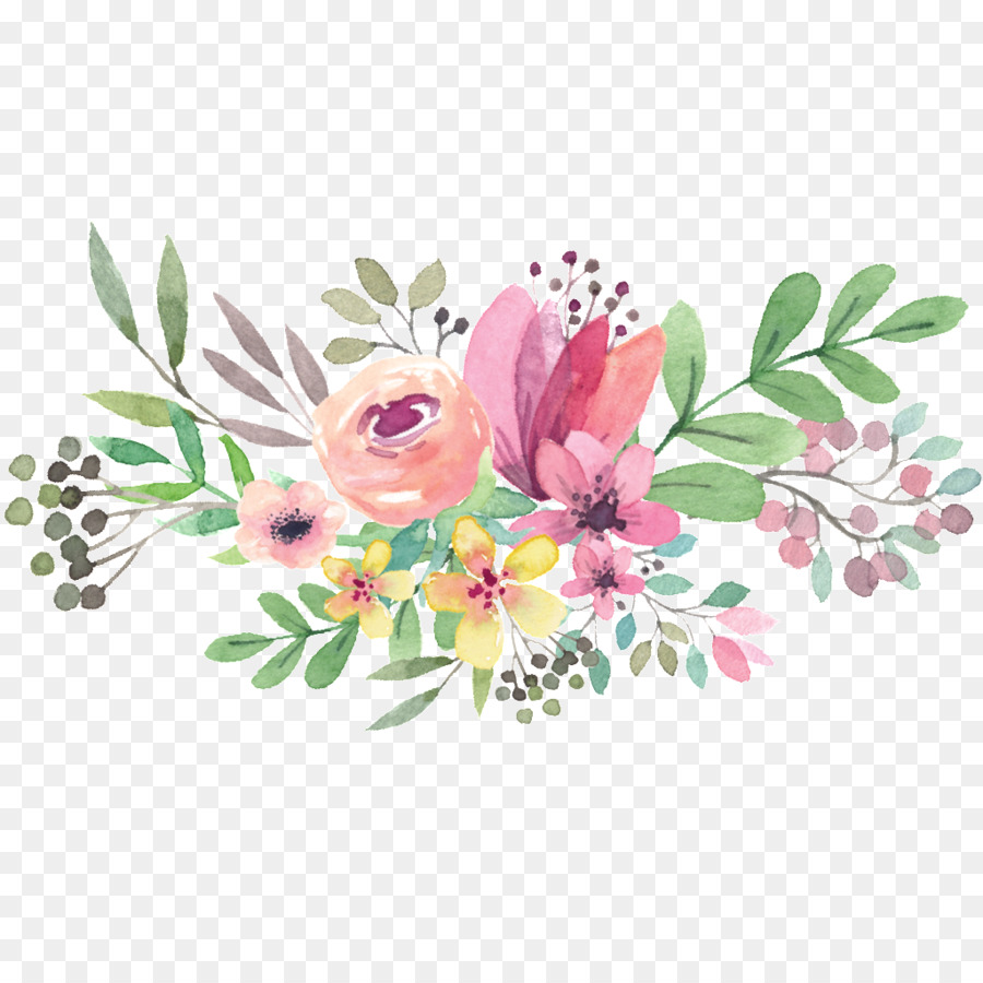 Watercolor Flower Background clipart.