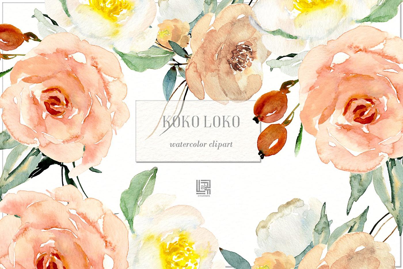 Koko Loko. Watercolor floral clipart FREE DOWNLOAD! on Behance.