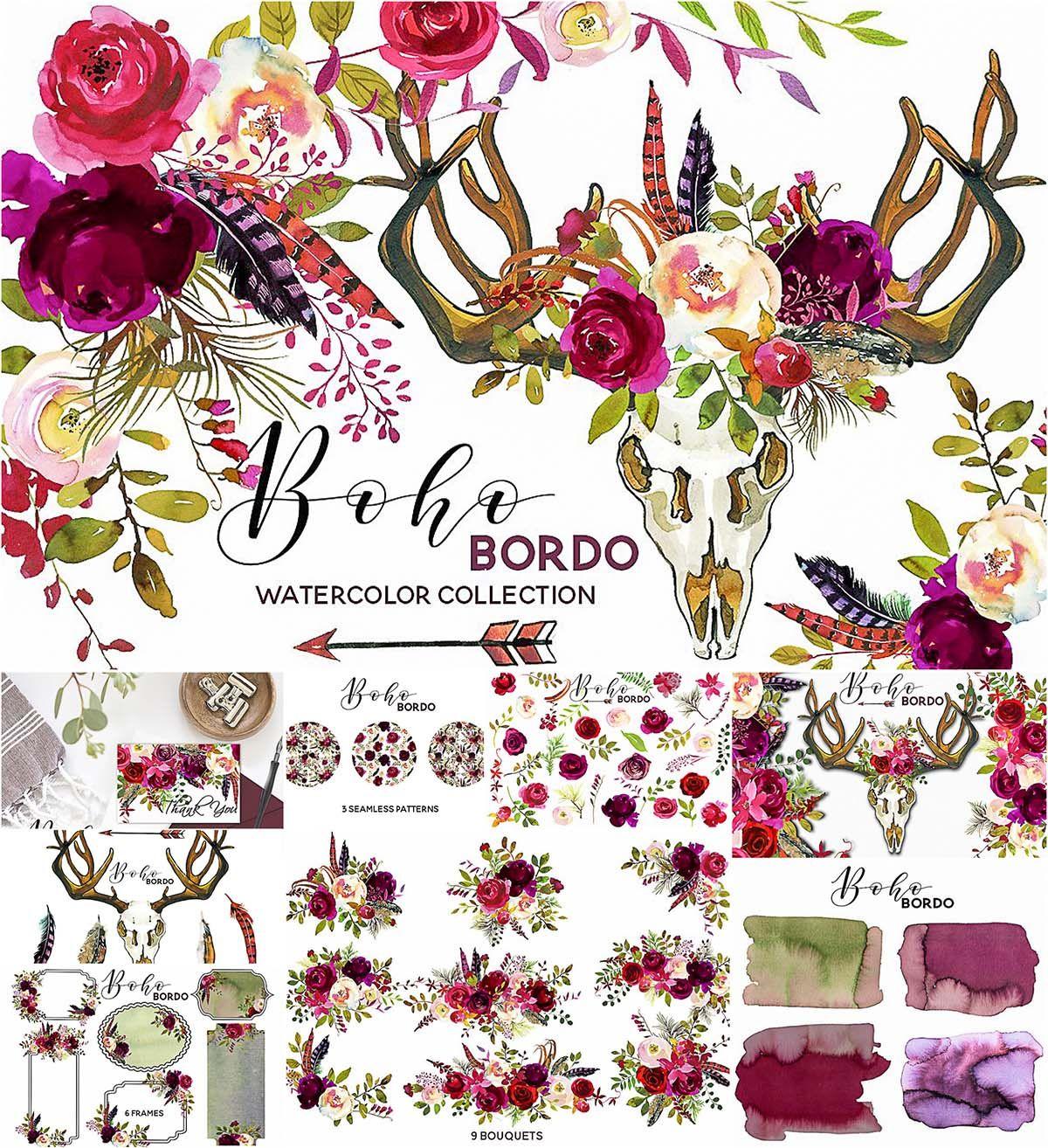 Boho marsala watercolor flowers.