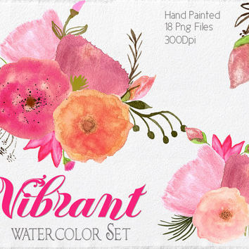 Shop Watercolor Flowers Clipart on Wanelo.