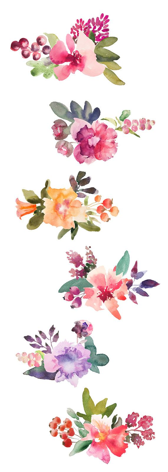 Watercolor Floral Transparent Background.