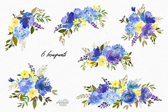 Royal Blue Watercolor Floral Clipart.