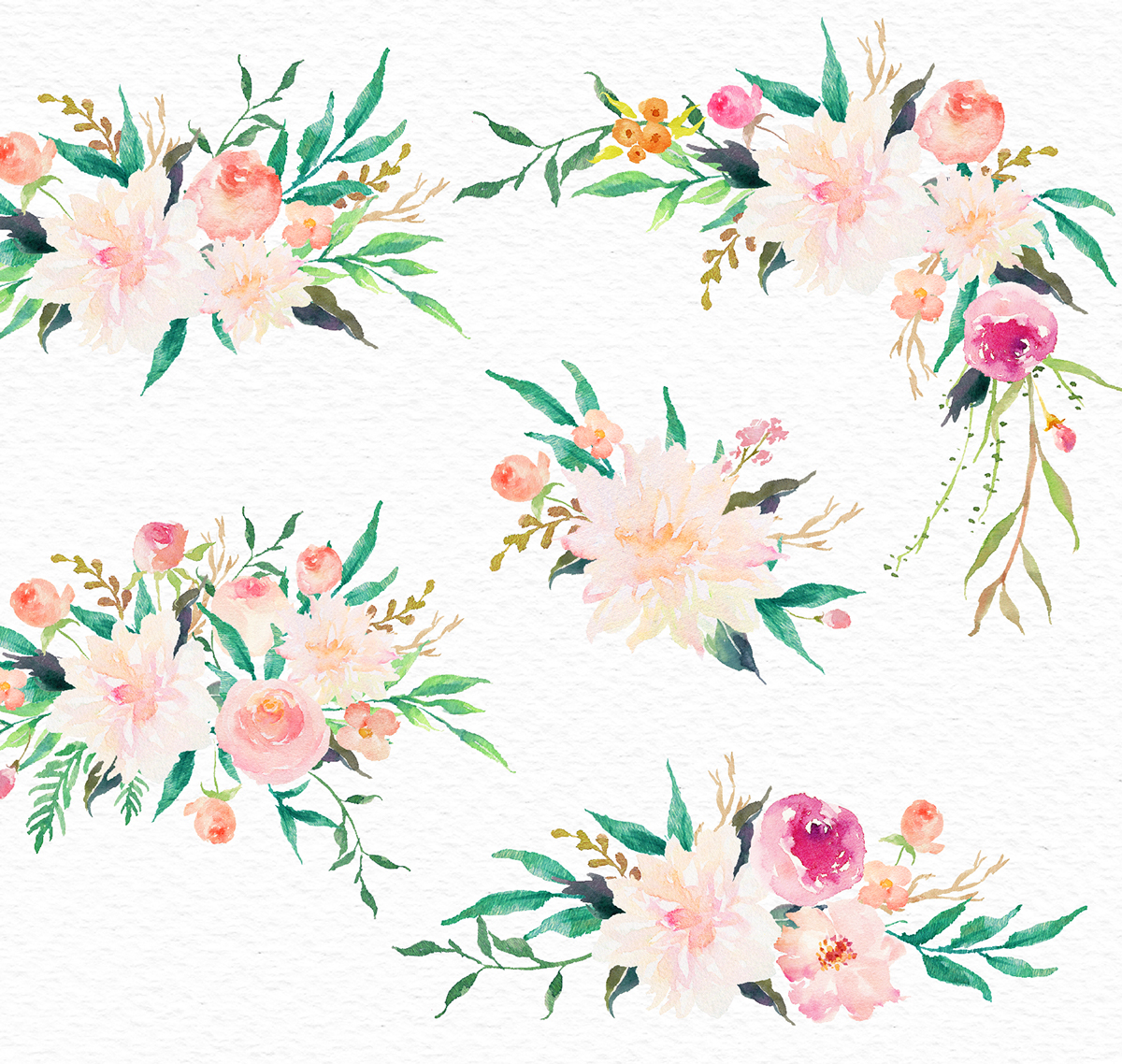 Watercolor flower Clip Art.
