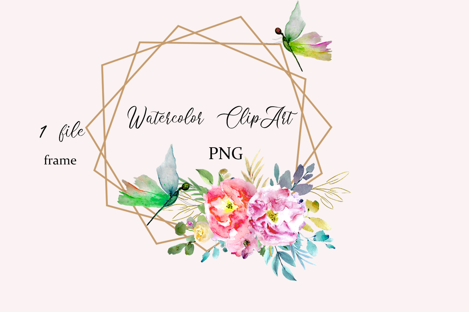 Watercolor Floral Frame ClipArt.