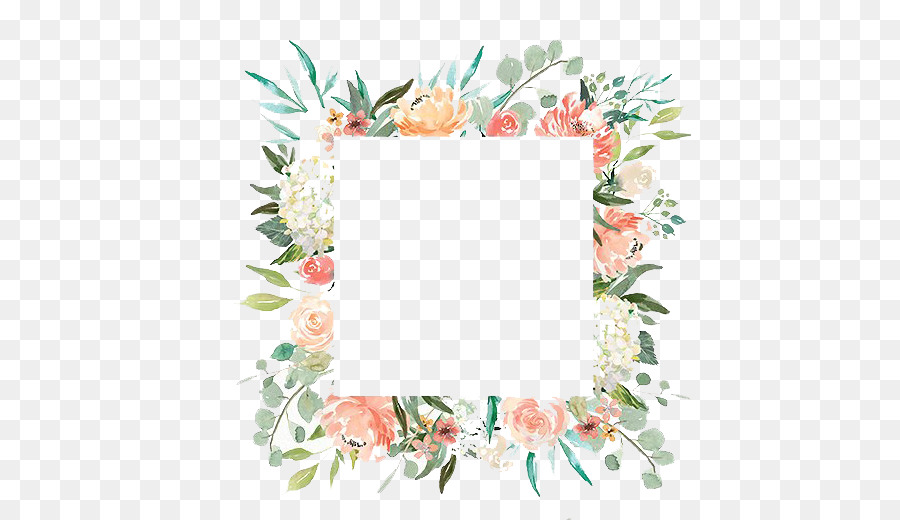 Watercolor Flowers Frame clipart.