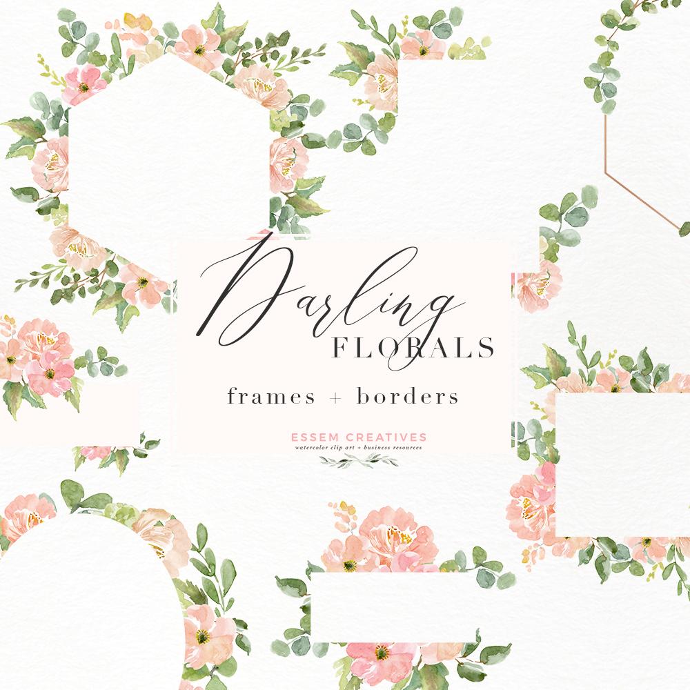 Watercolor Flower Border Clipart, Romantic Blush Peony.