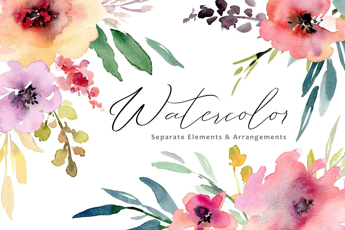 Watercolor flowers, bouquets, frames PNG collection.