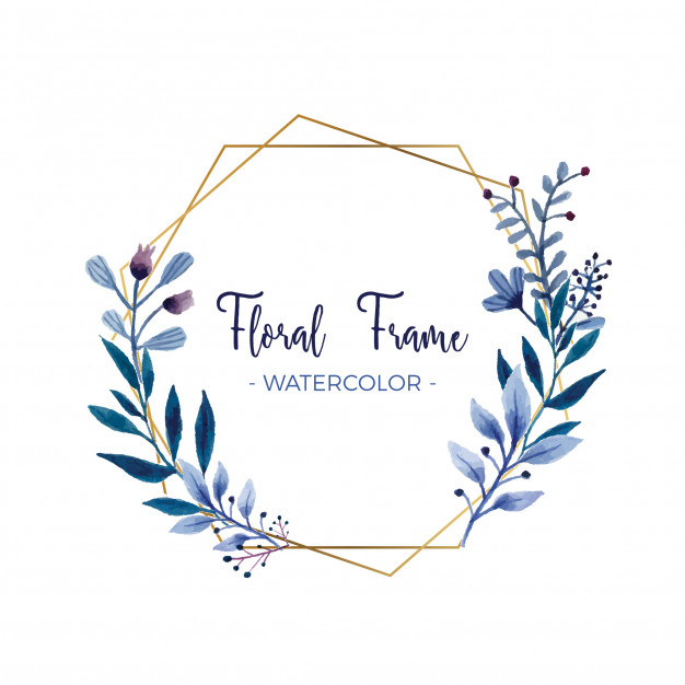 Watercolor floral frame with gold frame Vector.