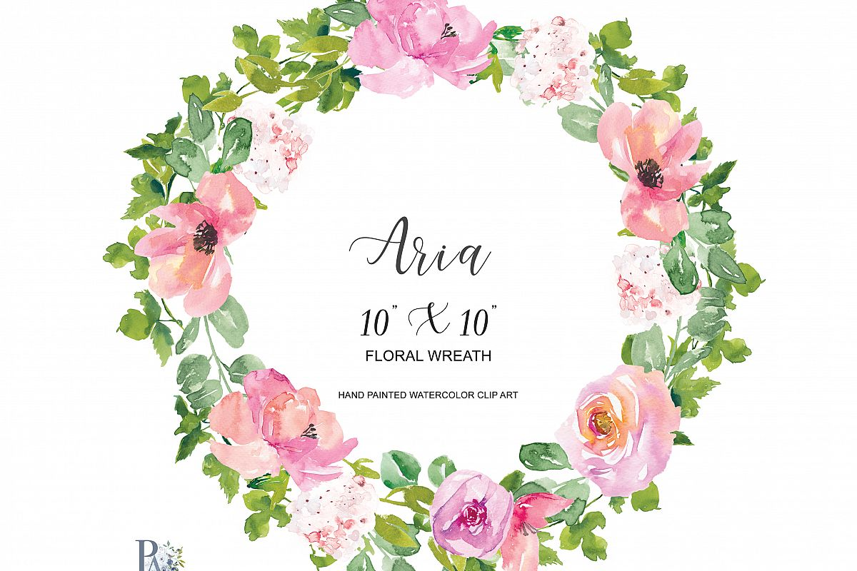 Watercolor Blush Floral Wreath Clipart.