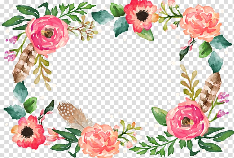Watercolor painting Flower Illustration, Flower Border, red.