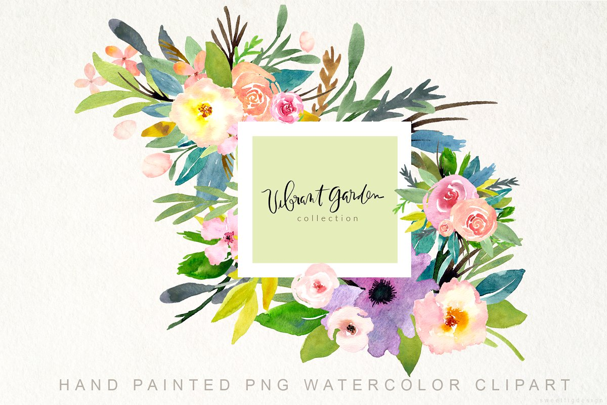 Handpainted Watercolor Flowers PNG.