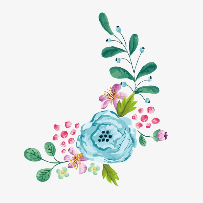 Vector Watercolor Hand Painted Floral Border, Colored.
