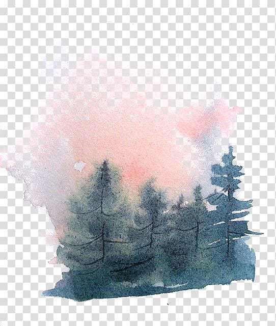 Green pine tree water color, Watercolor painting Drawing.