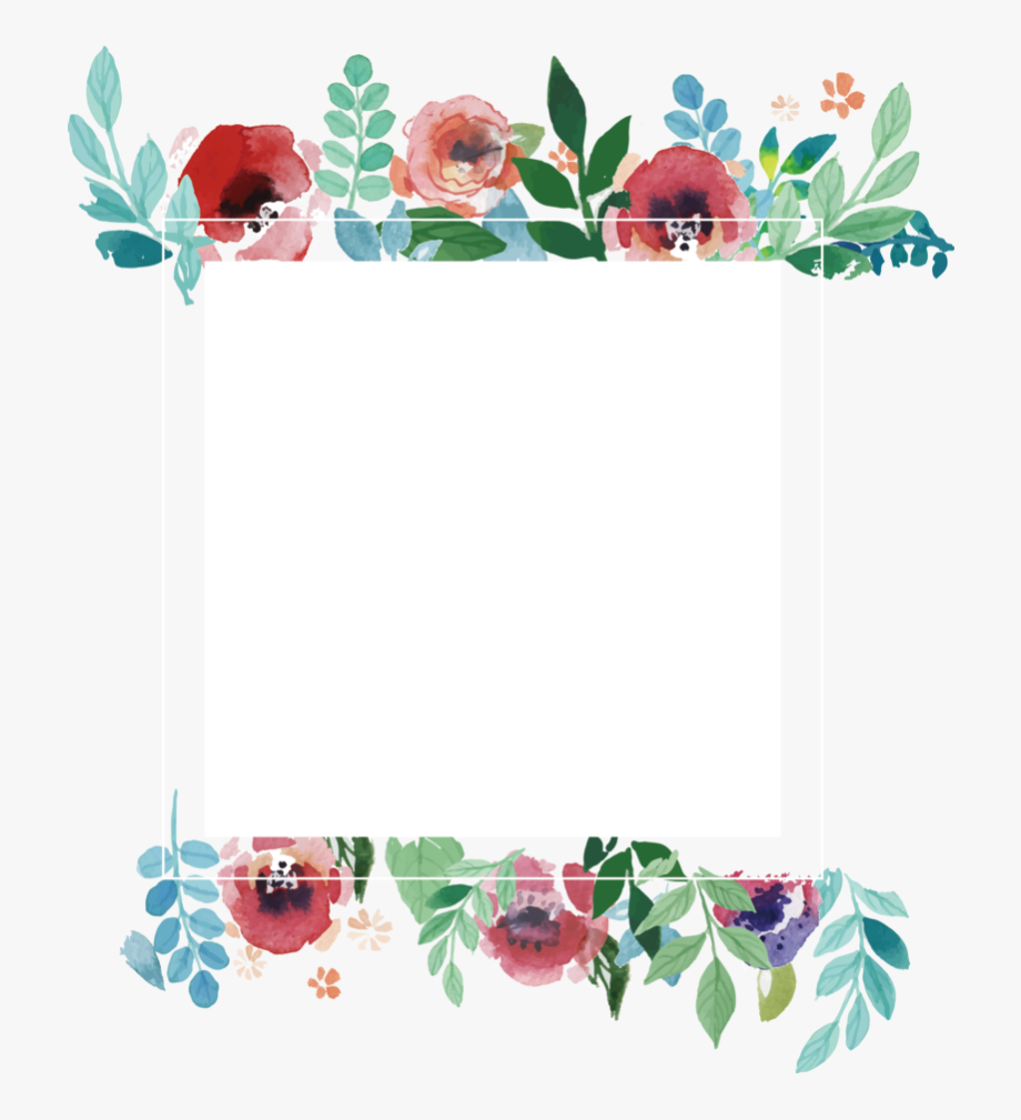 Picture Flower Frame Wedding Watercolor Invitation.