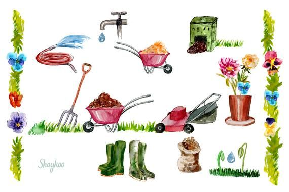 Garden Tools Watercolor Clipart, Hand Painted Watercolor.