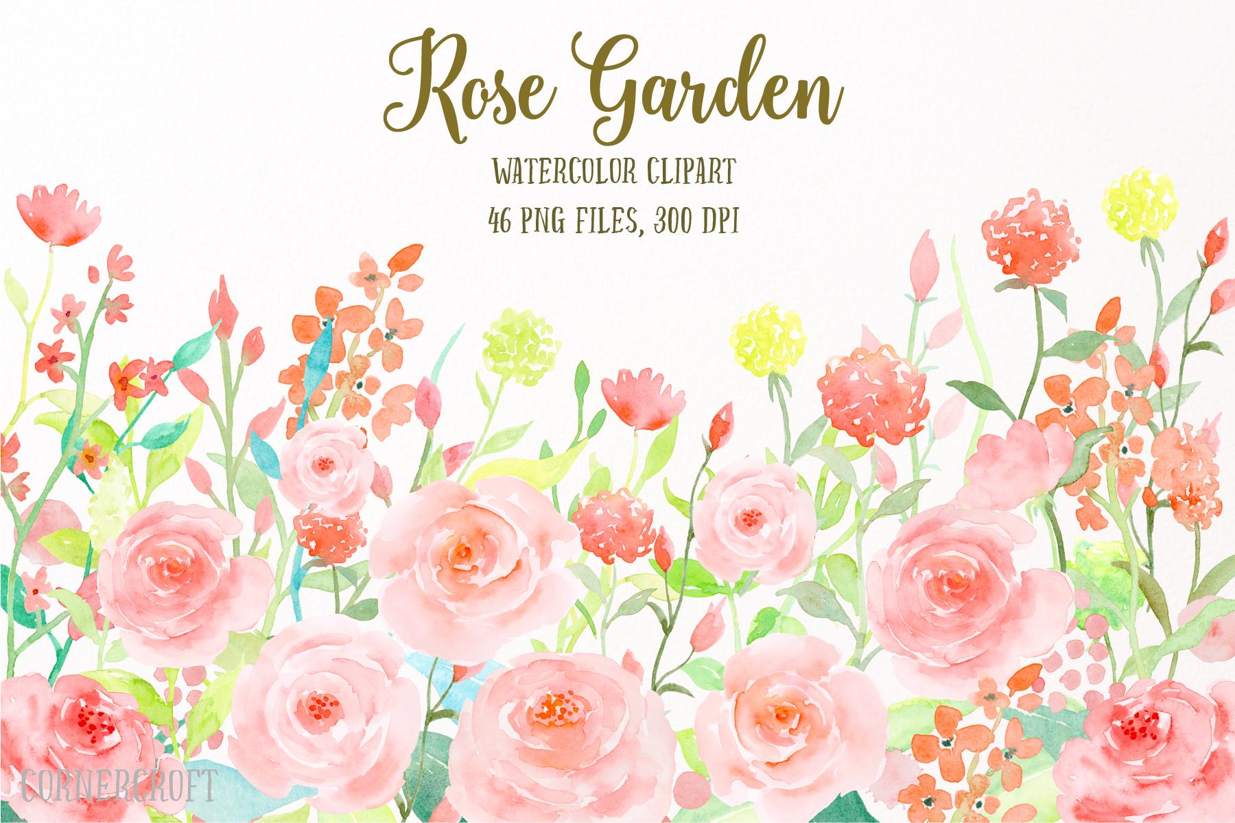 Watercolor Flower Collection Rose Garden, Watercolor Clipart.