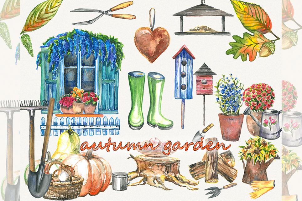 Garden clipart, spring clipart, garden tools, watercolor.