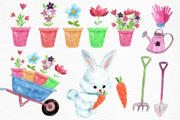Watercolor garden clipart Rabbit clipart garden tools.