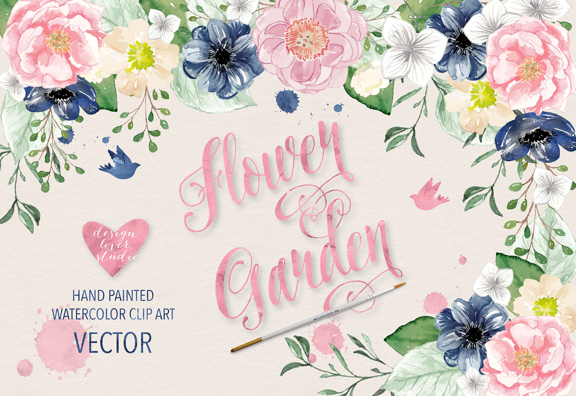 Vector Watercolor Navy blue and Pink Flower Garden clipart.