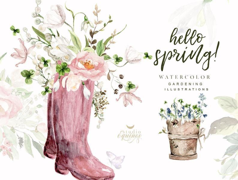 Hello Spring, Watercolor Garden Compositions, Gardening.