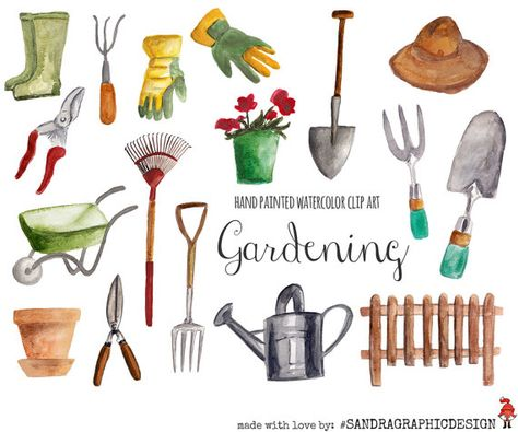 Gardening clip art, hand painted watercolor floral clipart.