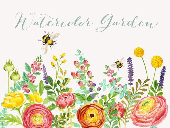 Watercolor Garden Clipart: Instant download wedding bridal.