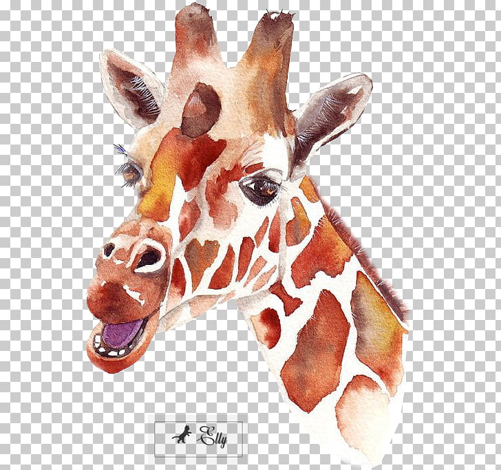 Watercolor painting Art Canvas Dance, watercolor giraffe PNG.