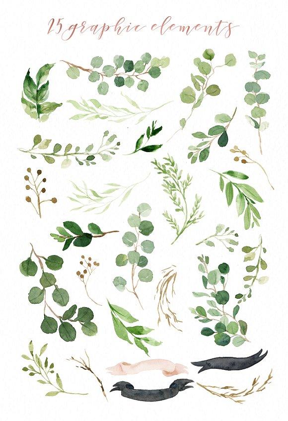 Watercolor Green Leaf Clip Art.
