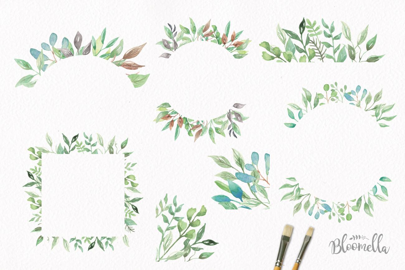 Watercolor Leaf Frames Green Leaf Clipart Borders.