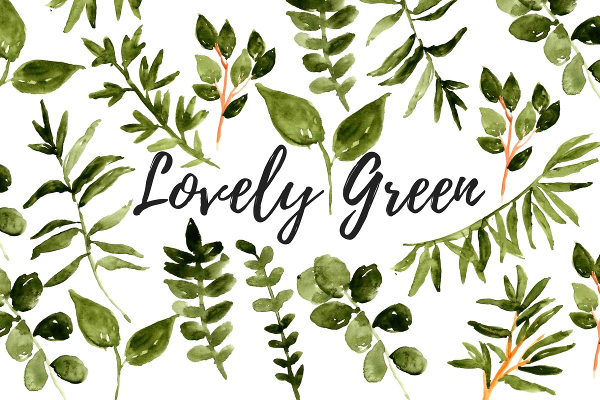 Watercolor greenery floral clipart.