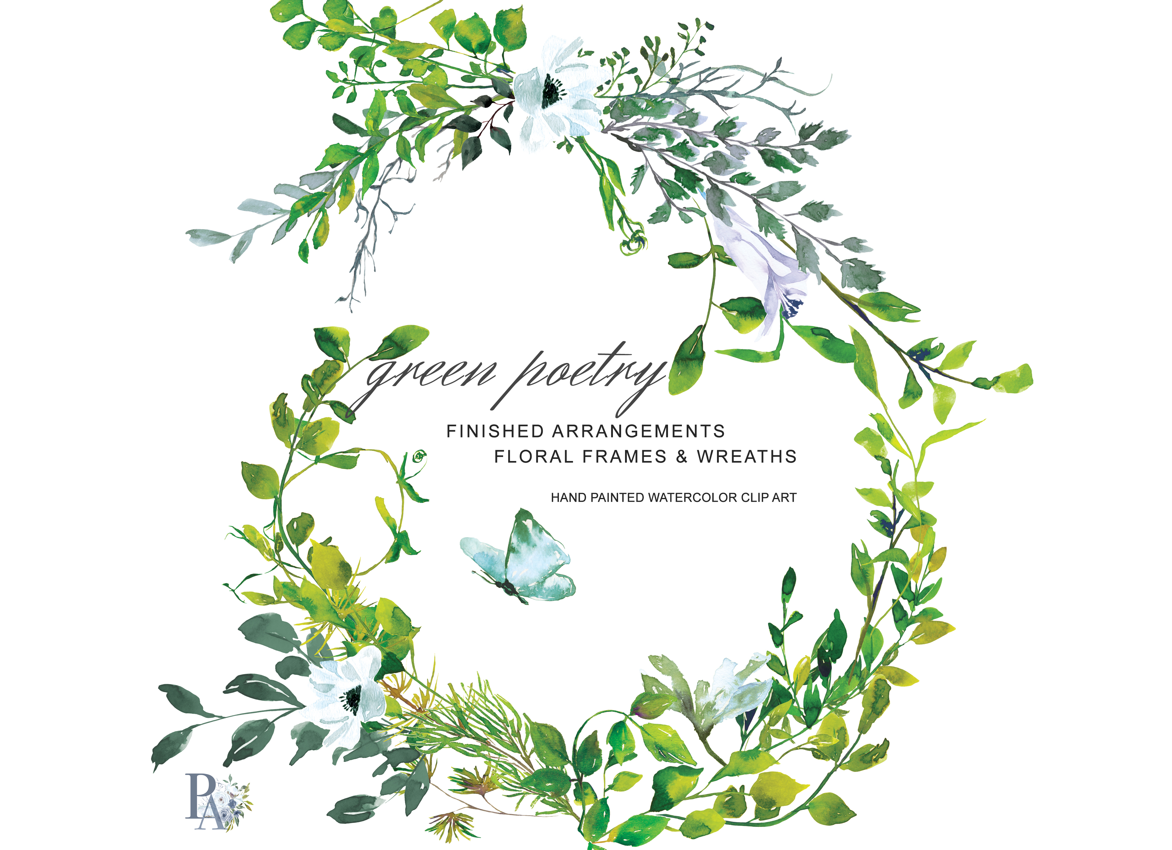 Hand Painted Watercolor Greenery Clipart.