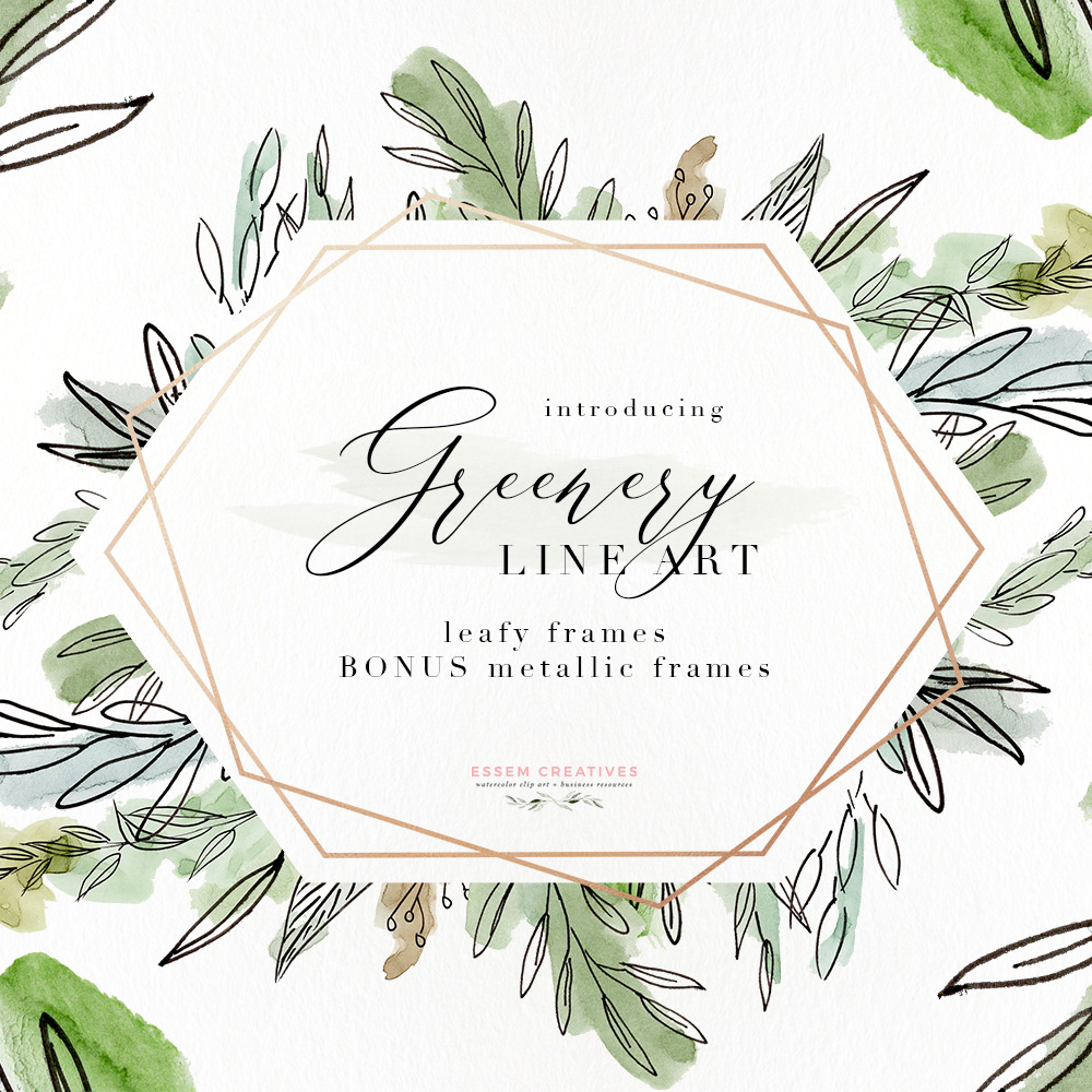 Watercolor Greenery Line Art PNG Clipart, Tropical Rustic Botanical Wedding  Invitation Logo Branding.