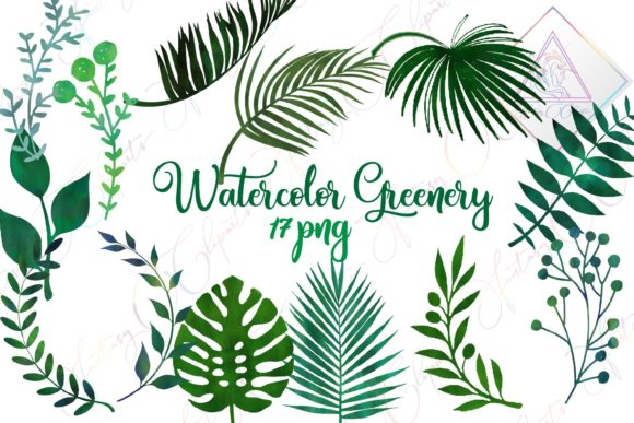 Watercolor Greenery Clipart.