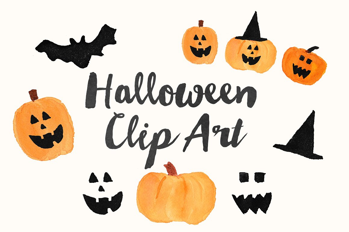 Halloween clip art watercolor.