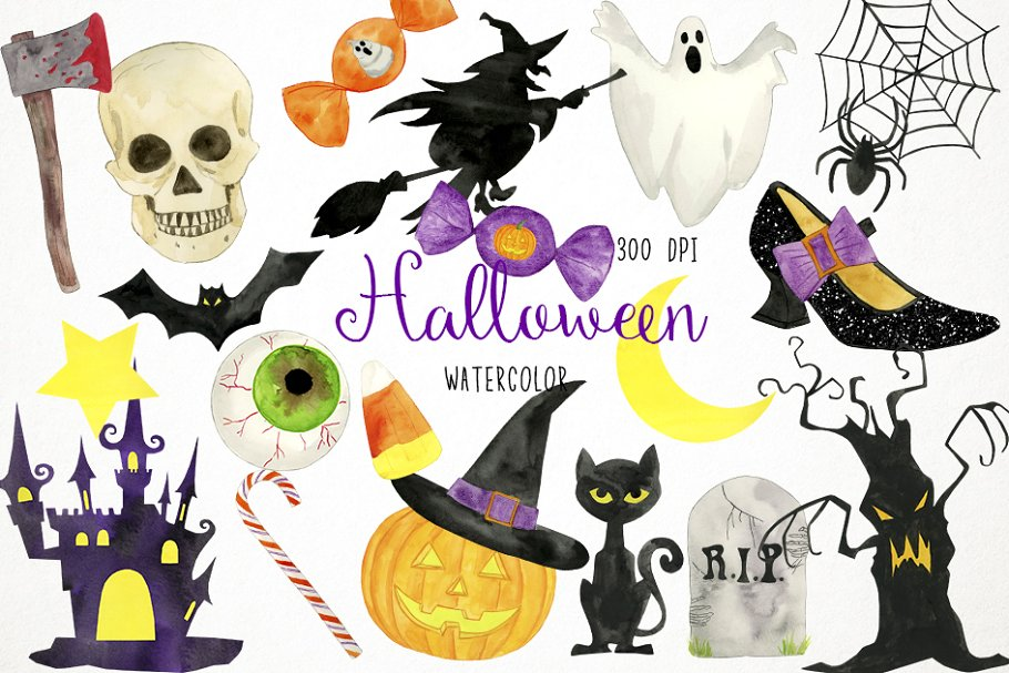 Watercolor Halloween Clipart ~ Illustrations ~ Creative Market.